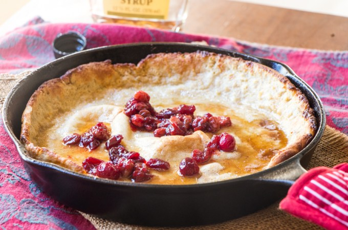 Breakfast or Brunch: Eggnog Dutch Baby Pancakes with Cranberry Sauce and Maple Syrup