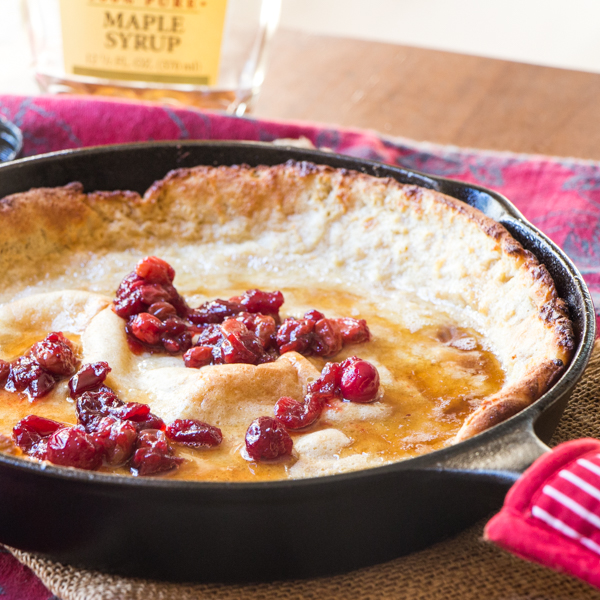 Breakfast: Eggnog Dutch Baby Pancakes with Cranberries