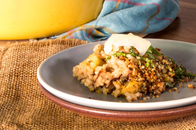 Baked Artichoke Risotto with Radicchio