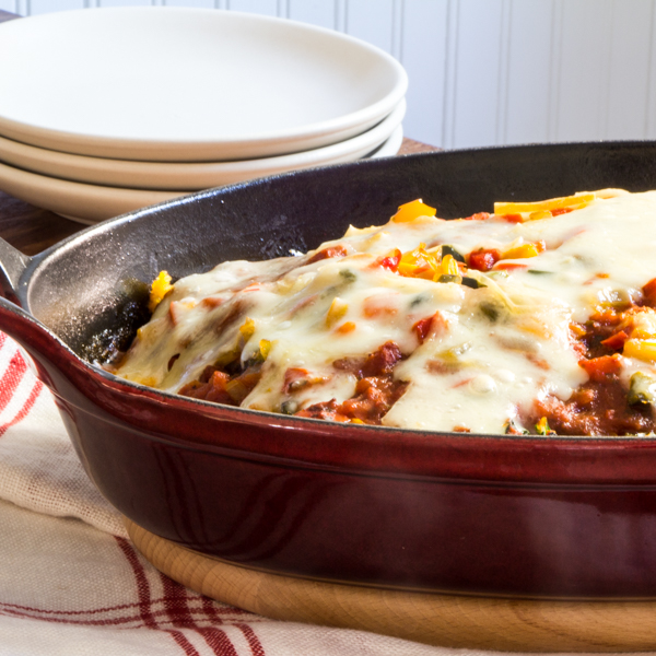 polenta lasagna with swiss chard and peppers