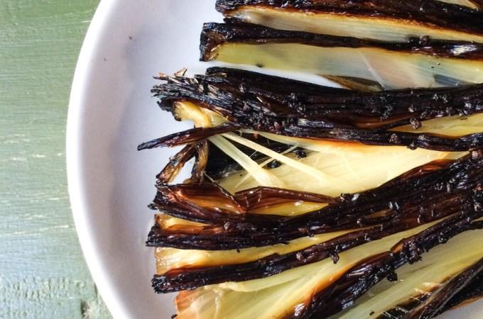 crispy roasted leeks