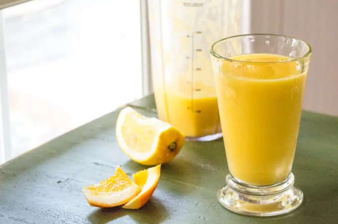 Orange Mango Smoothie with Ginger and Lime for a healthy breakfast