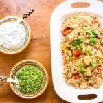 Paneer biryani sautéed with tomatoes, served with cucumber raita and mint chutney. One dish vegetarian meal.