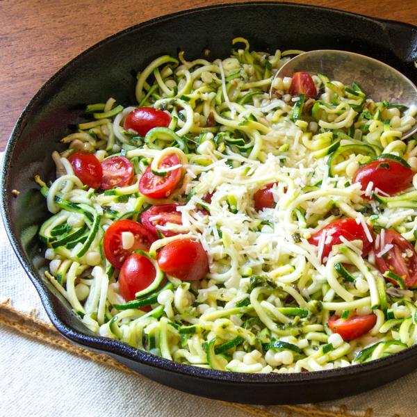 zucchetti, tomatoes, corn, garlic, and Asiago cheese
