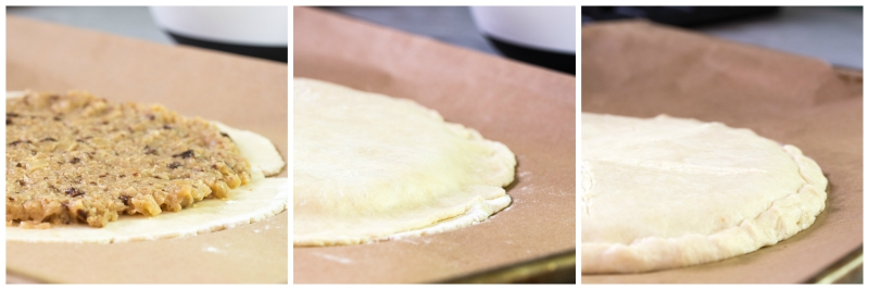 Assembly of the galette before sliding it into the oven.