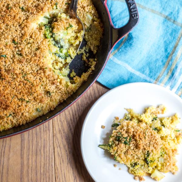 broccoli casserole with cheese and quinoa
