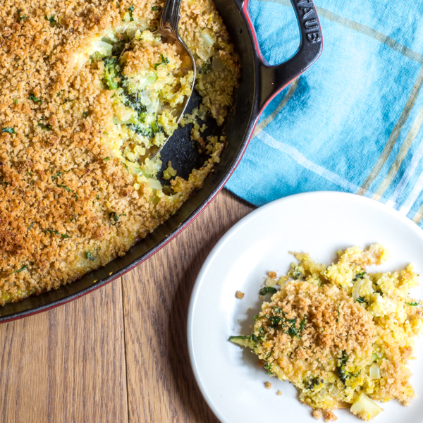 broccoli casserole with cheese and quinoa