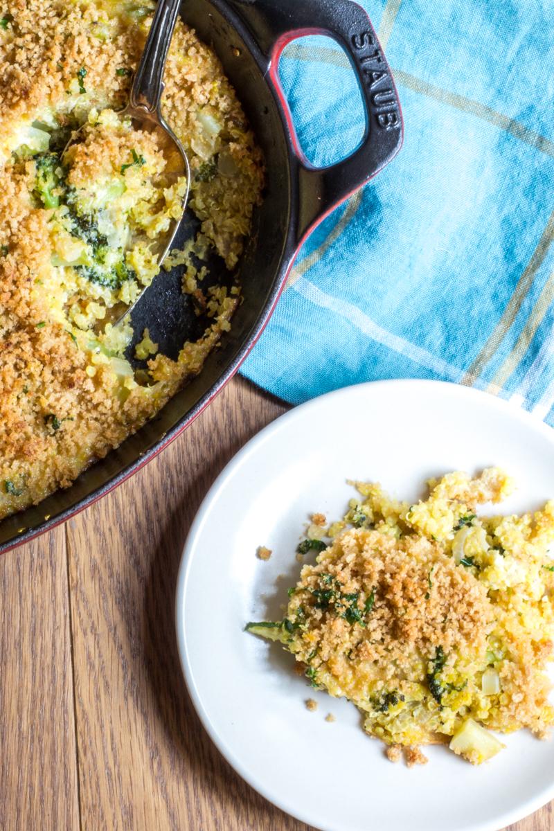 Broccoli Quinoa and Cheese Casserole