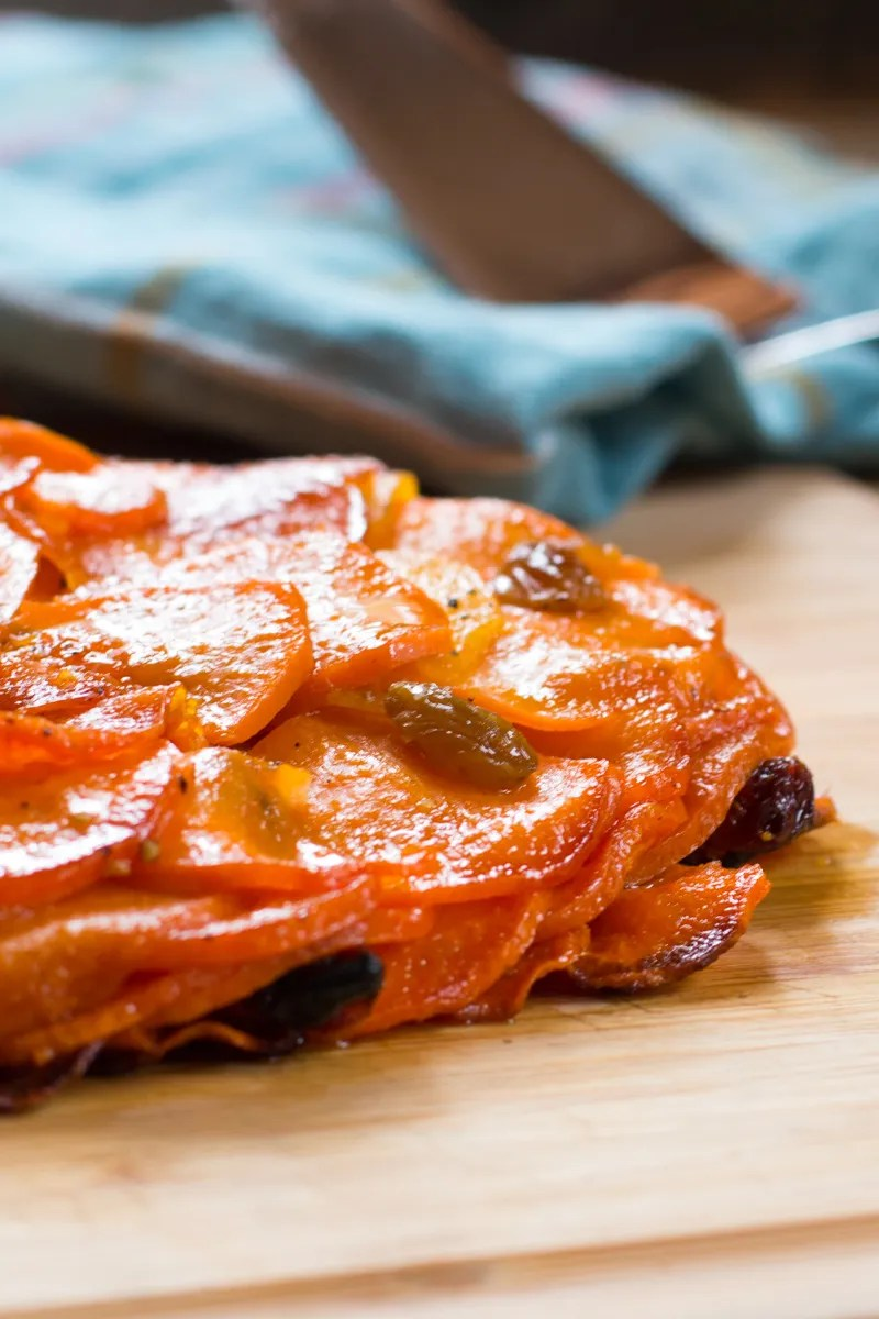 Sweet Potatoes Pommes Anna layered with apples and golden raisins.