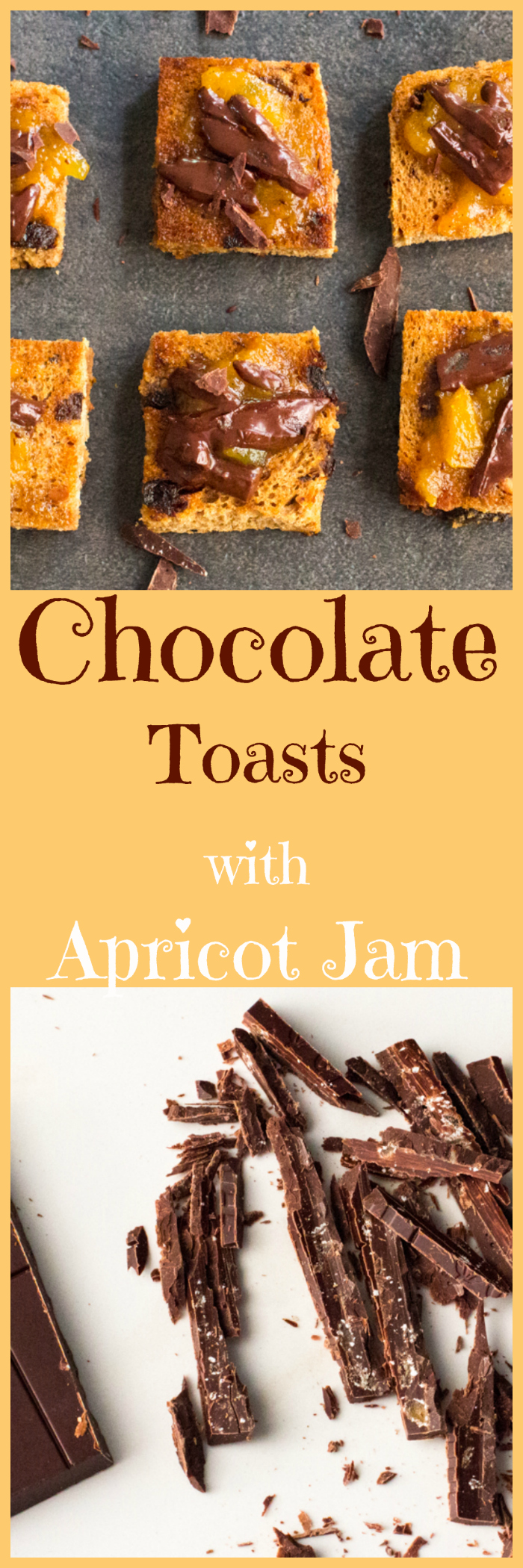 Cinnamon Raisin toasts, smeared with apricot jam, and topped with melty chocolate for a quick dessert.