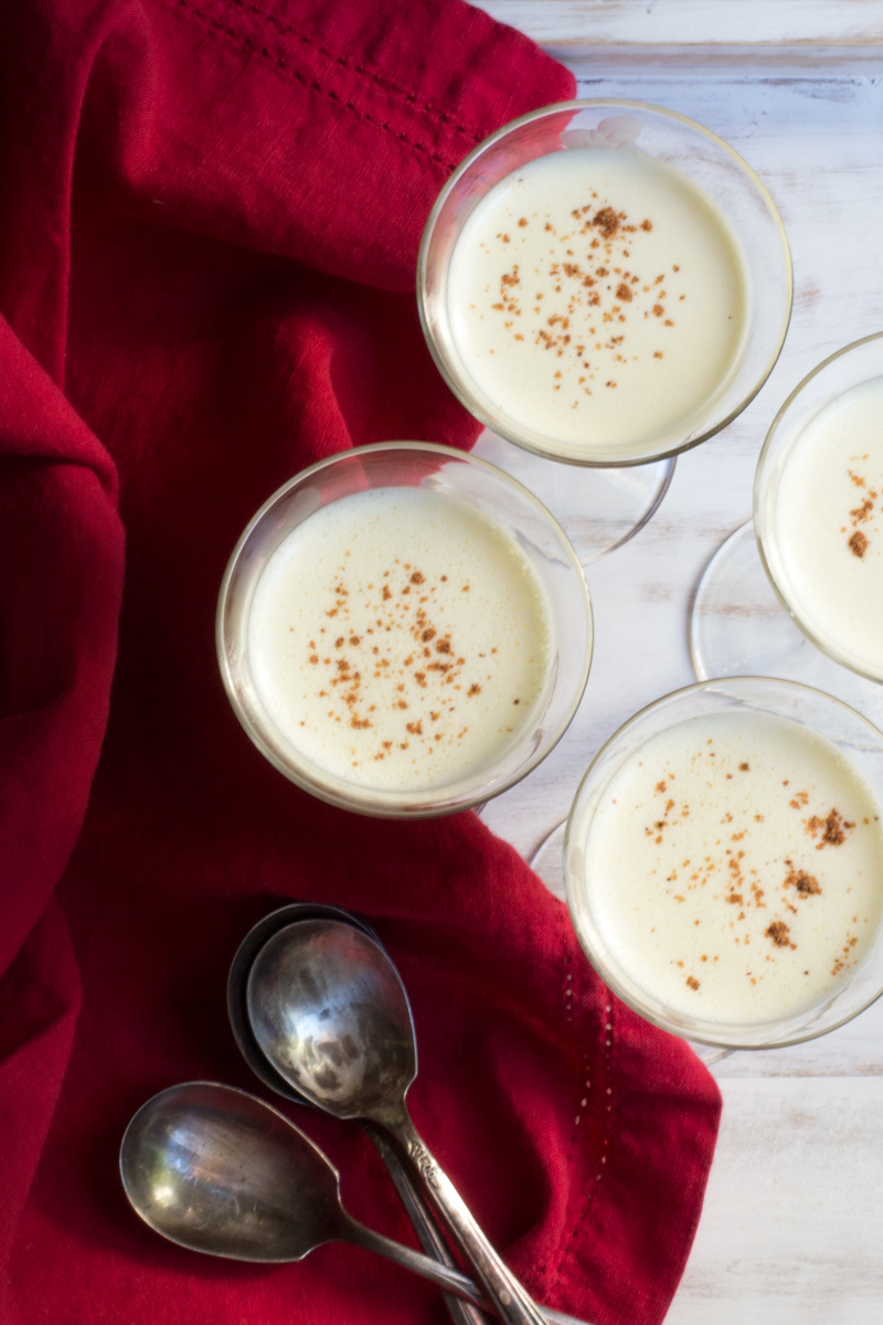 Eggnog flavored crème anglaise stirred custard for either drinking or pouring over cake.