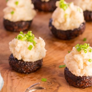 Balsamic Mushrooms Stuffed with Miso Mashed Potatoes