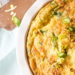 Asparagus and leek quiche made with Gruyere cheese, and a hash brown bottom, is lightened with egg whites and low-fat milk.