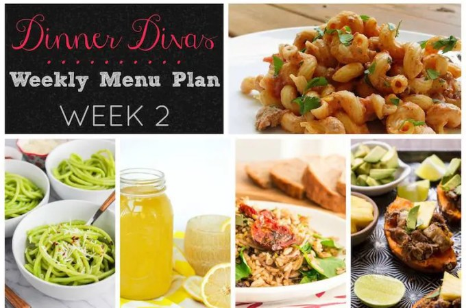 Dinner Divas Weekly Meal Plan (with vegetarian versions!): Week 2