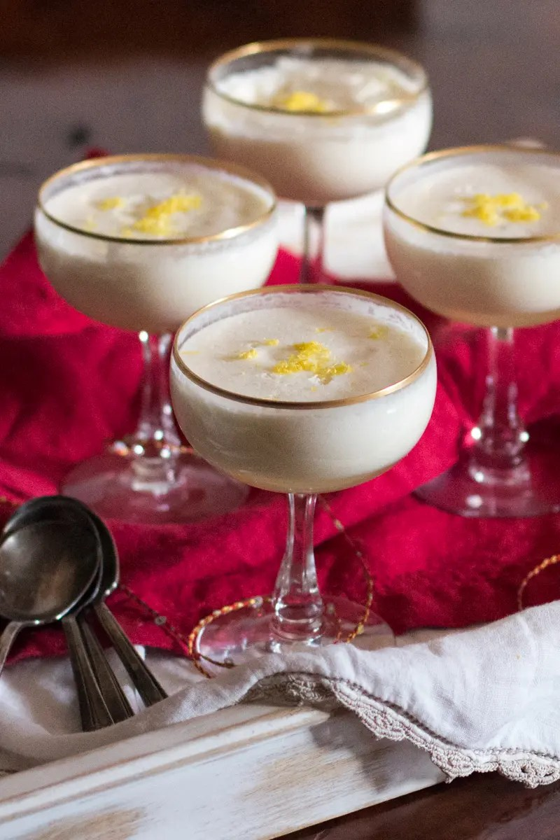 Early American lemony dessert drink topped with creamy foam, popular in England. And it's so easy to make!