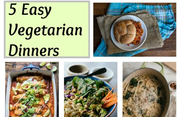 Weekly Vegetarian Menu #2 – 5 Easy Vegetarian Dinners
