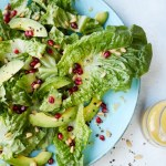 Lemony Romaine Salad with Avocado, Pomegranate Seeds, Pine Nuts and Vinaigrette from the Simply Vegetarian Cookbook