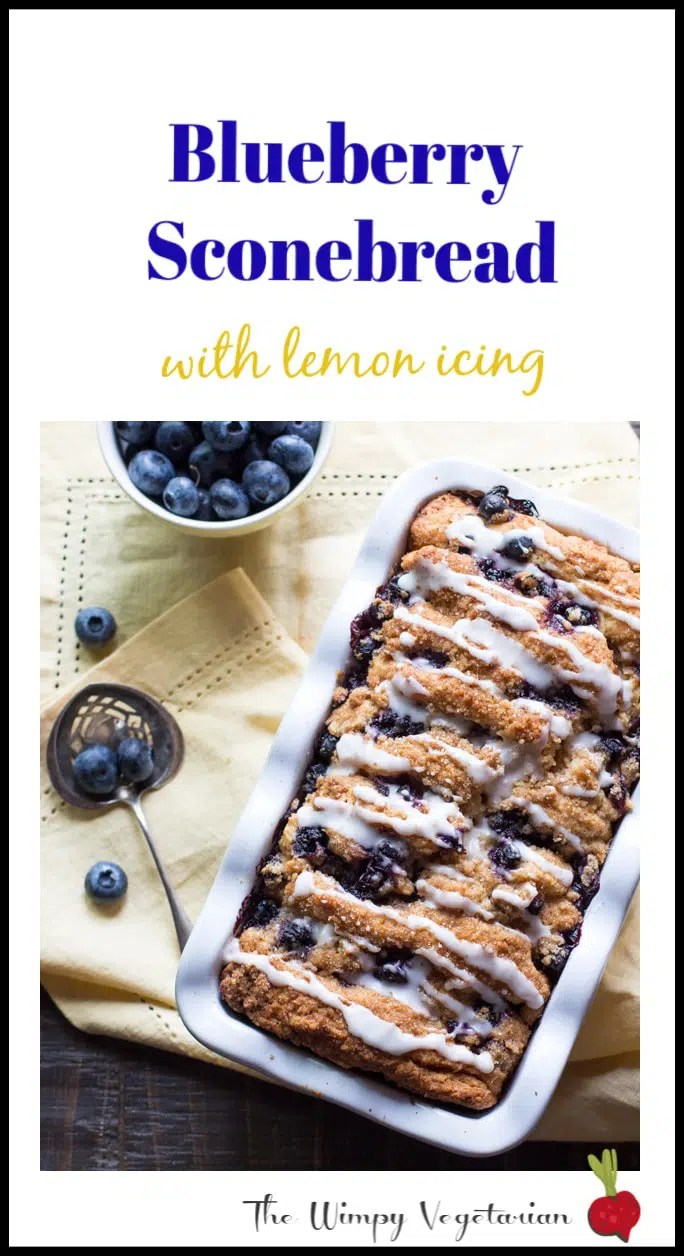 Layers of scone bread pancaked together with a blueberry streusel and laced on top with lemon icing. #Brunch #Bread #Quickbread #EasterBrunch #MothersDayBrunch #Blueberries #vegetarianbrunch #Breakfast #vegetarianbreakfast