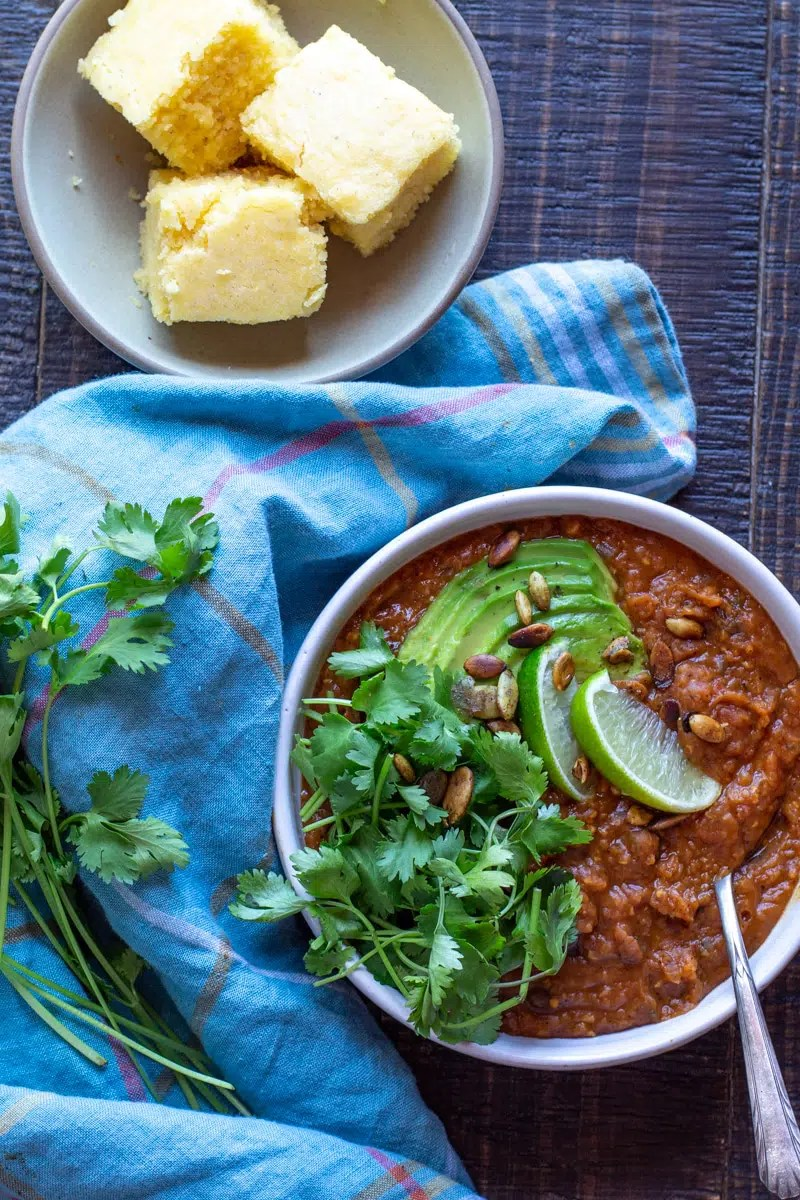 Instant Pot Pumpkin Black Bean Chili. It's gluten-free, vegan, and hearty enough for dinner.