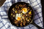 Low-carb, keto-friendly balsamic roasted Brussels sprouts and onions with fried eggs for the win. Perfect vegetarian, healthy dinner that's also a great comfort meal on chilly nights. #BalsamicRoastedBrusselsSprouts #RoastedBrusselsSprouts #BrusselsSprouts #LowCarb #BestLowCarbRecipes #HealthyRecipe #VegetarianDinner
