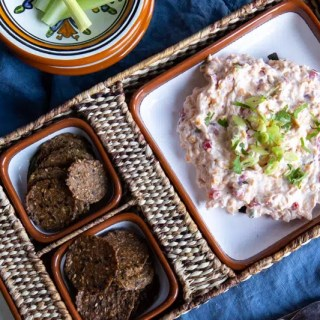 Traditional Southern spread of cream cheese, mayonnaise, cheddar cheese, pimento and spices. Use it as a dip, burger topping or make it a sandwich. #easydips #easyvegetariandips #vegetariandips #creamcheese #appetizers #partyappetizers #makeaheadappetizers