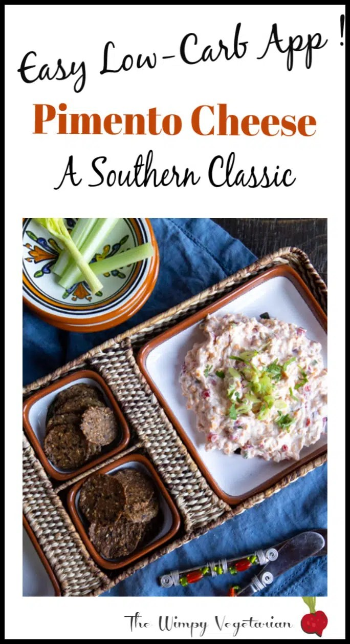 Classic Southern spread of cream cheese, mayonnaise, cheddar cheese, pimento and spices. Use it as a dip, burger topping or make it a sandwich. #easydips #easyvegetariandips #vegetariandips #creamcheese #appetizers #partyappetizers #makeaheadappetizers