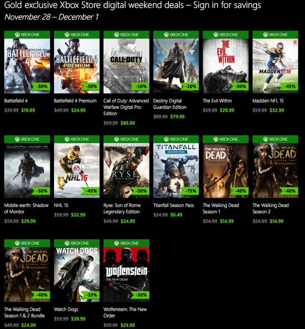 Cyber Monday Xbox One Xbox 360 Games Deals Amazon Walmart Ms Store Bestbuy More Wincentral