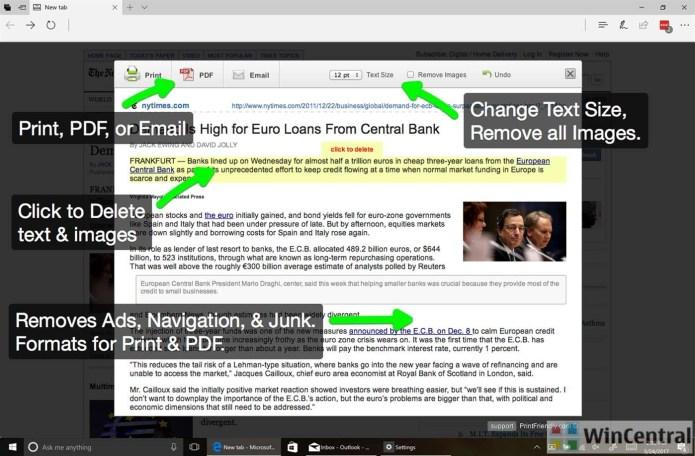PrintFriendly and PDF Edge extension