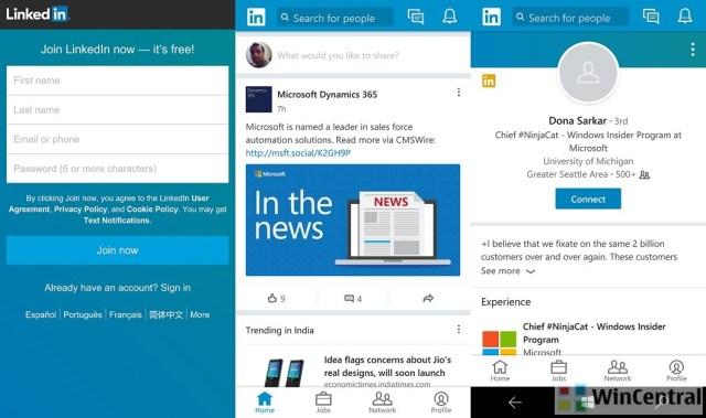 LinkedIn app on Windows 10 Phone