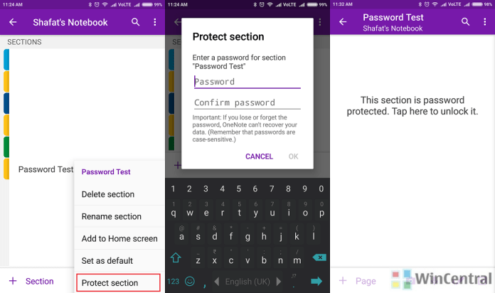 MS OneNote Android - Set Password for Section