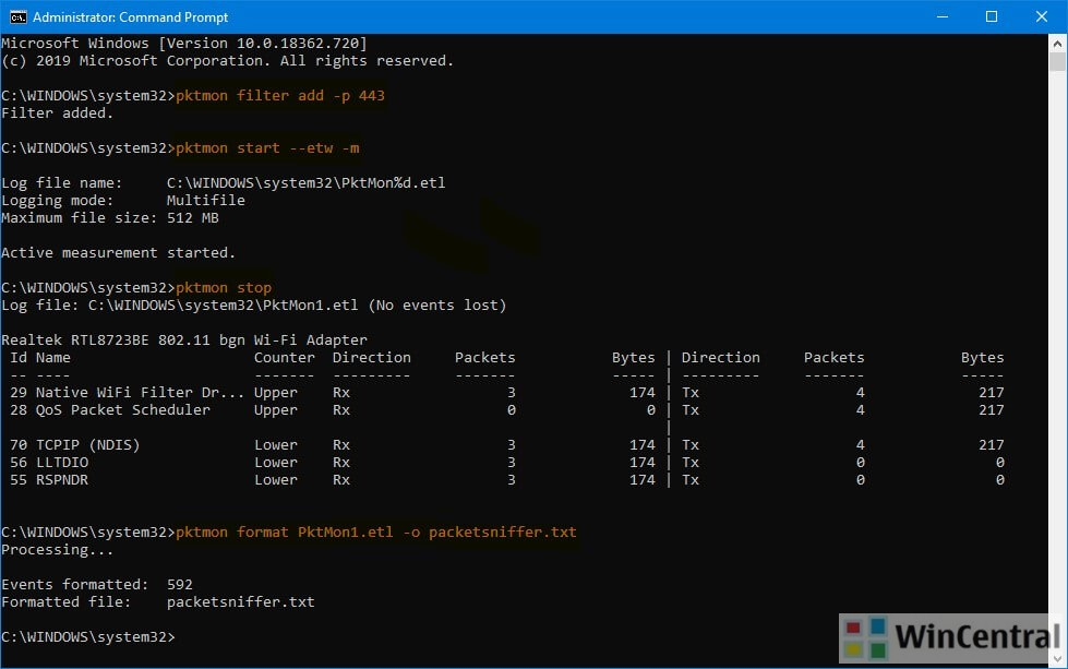 pktmon command in Windows 10