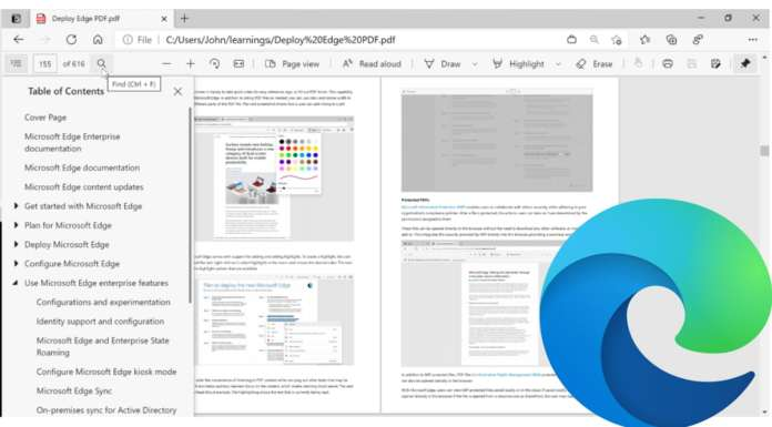 PDF reader in Microsoft Edge