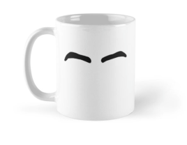 White mug with eyebrows resembling Dillon Dube's of the Calgary Flames.