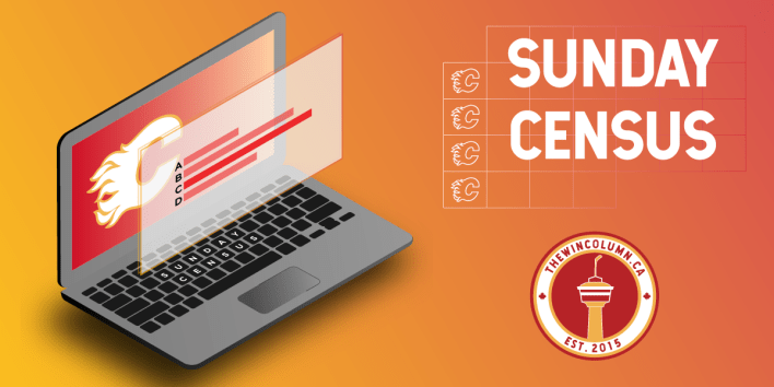 The Win Column - Sunday Census Featured Image - Graphical design showing a Calgary Flames branded laptop with poll results.