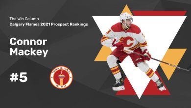 Calgary Flames 2021 Prospect Rankings Featured Image. #5. Connor Mackey, Defenceman. The Win Column.