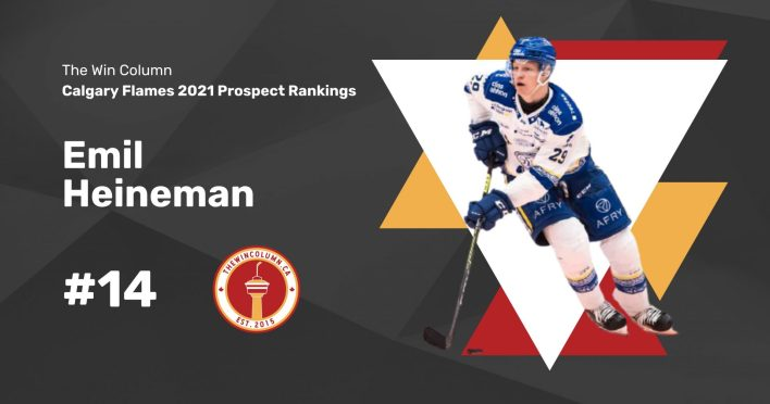 Calgary Flames 2021 Prospect Rankings Featured Image. #14. Emil Heineman, Left Wing. The Win Column.