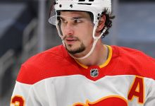 Close up of Sean Monahan of the Calgary Flames.