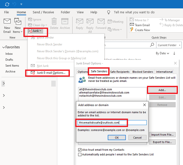 Add an email to the list of Outlook approved senders
