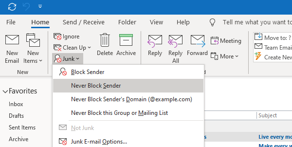Mark email as safe sender