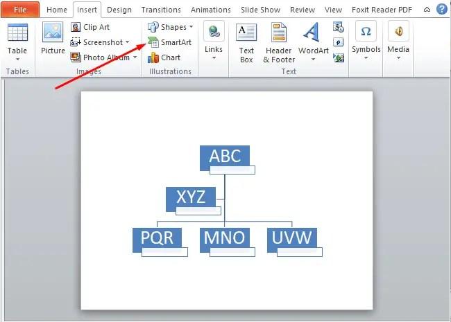 Choose the SmartArt graphic