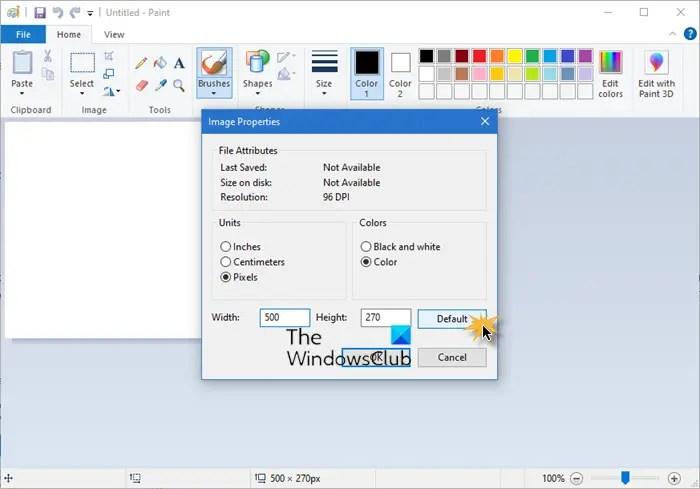 reset ms default paint