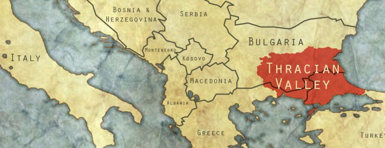 Geographically the Thracian Valley extends into Greece and Turkey. But the Thracian Lowlands wine region covers most of the south of Bulgaria proper.