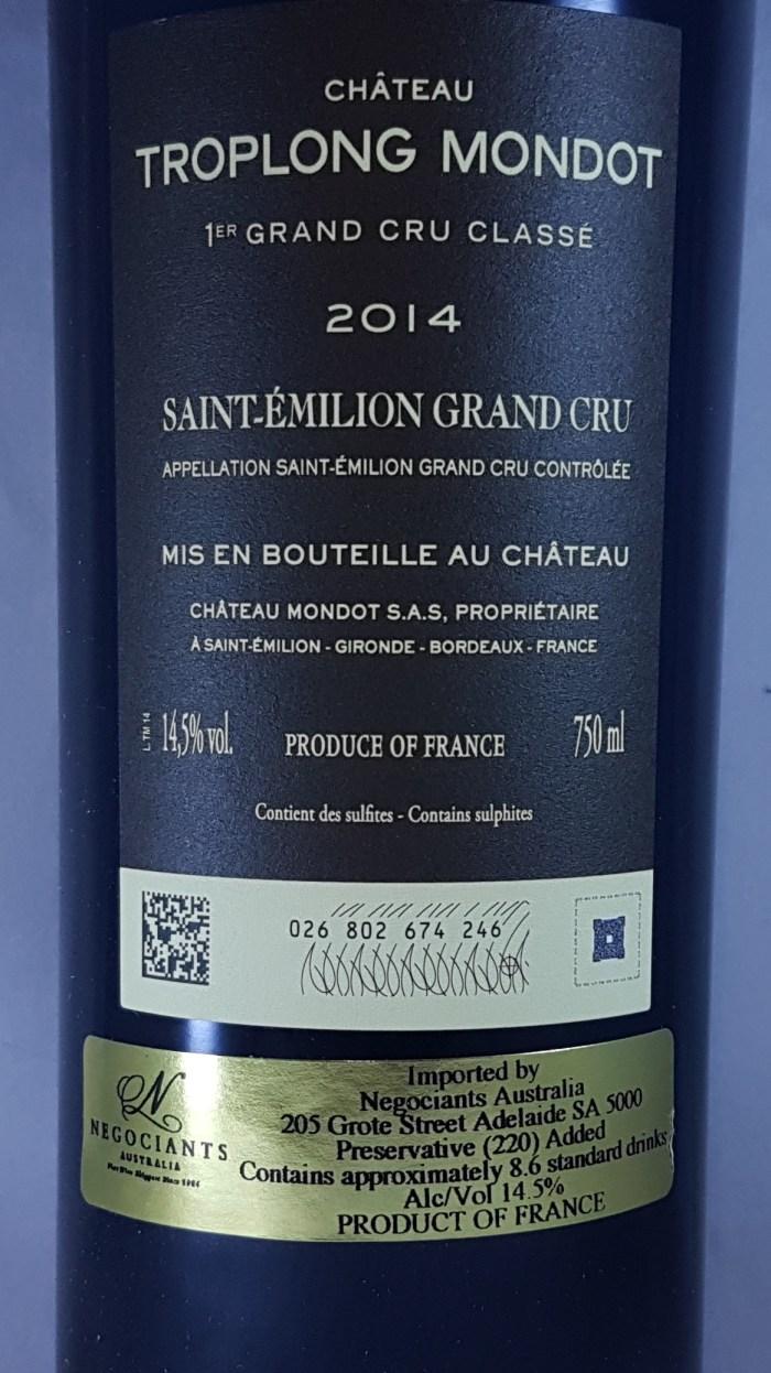 Chateau Troplong-Mondot St-Emilion 1er Grand Cru Classe 2014 Back Label
