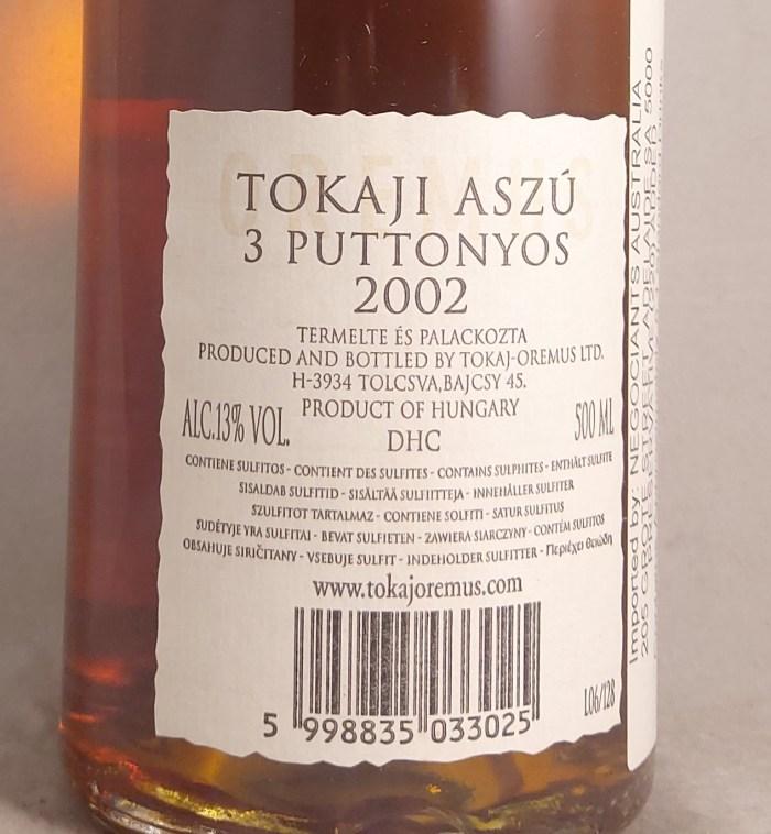 Oremus Tokaji Aszu 3 Puttonyos 2002 500ml Back Label