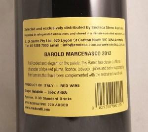 Renato Ratti Marcenasco Barolo DOCG 2012 Back Label
