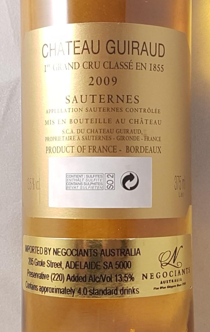 Guiraud Sauternes 2009 375ml Back Label