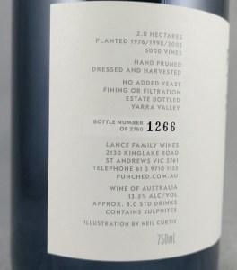 Punch Lance Vineyard Yarra Valley Pinot Noir 2016 Back Label