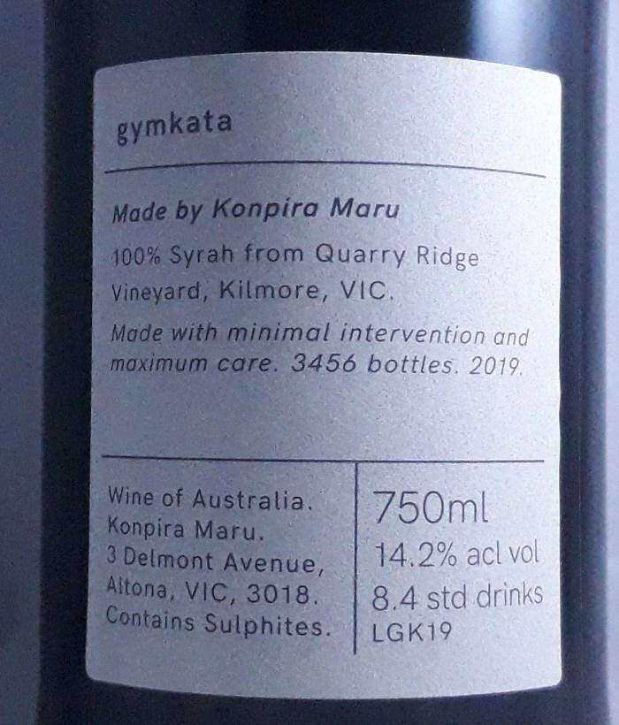 Konpira Maru Gymkata Syrah Kilmore 2018 Back Label