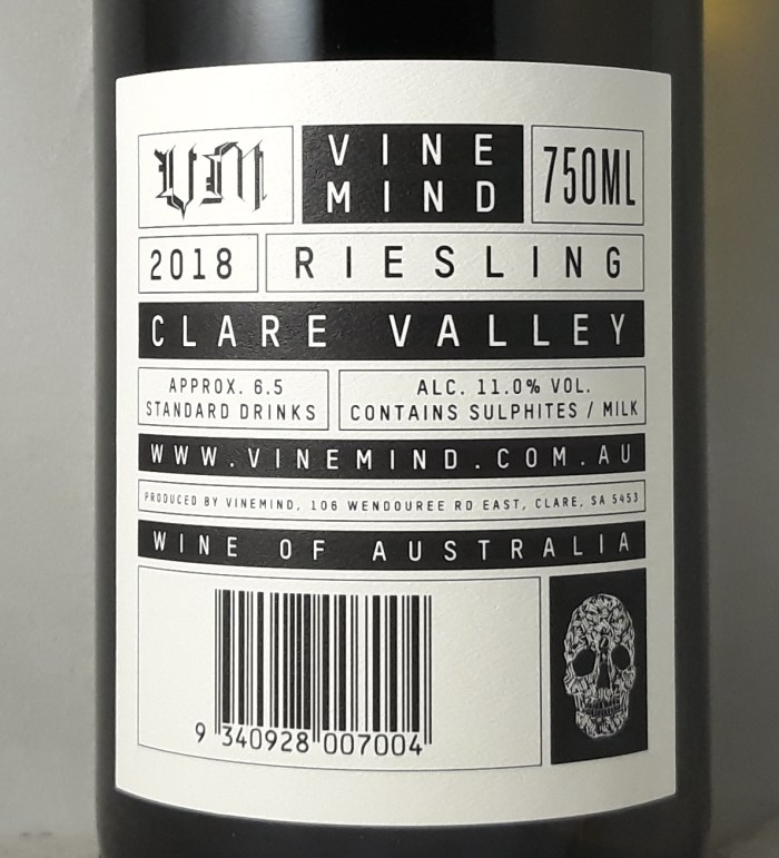 VineMind Clare Valley Riesling 2018 Back Label