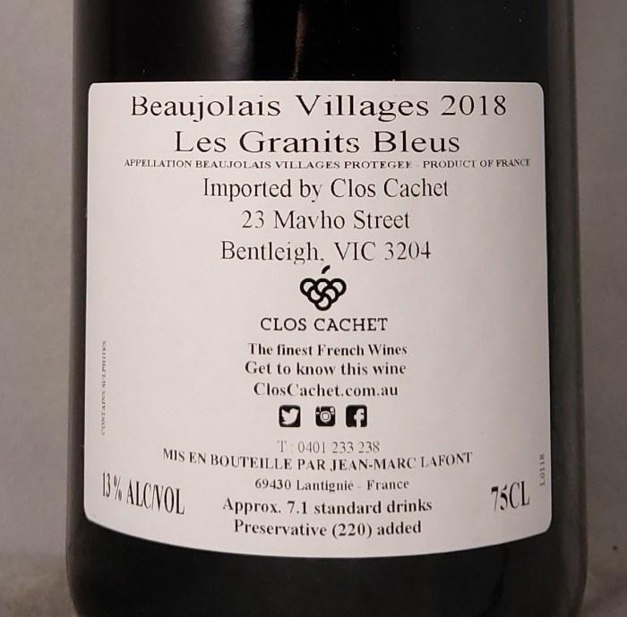 Domaine De Bel-Air Les Granits Bleus Beaujolais Villages 2018 Jean-Marc Lafont Back Label